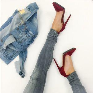 L.A.M.B. Shoes - Wine-Colored Suede Pumps